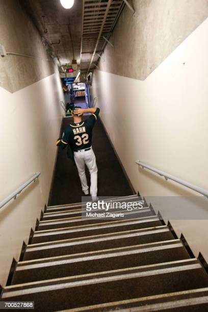 Jesse Hahn of the Oakland Athletics heads to the field prior to the game against the Toronto Blue Jays at the Oakland Alameda Coliseum on June 6 2017...