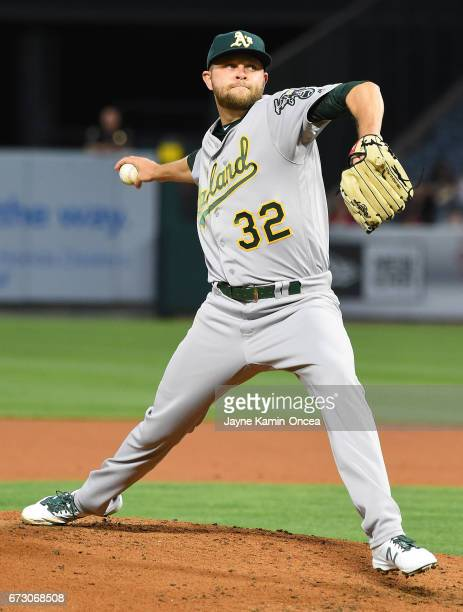 Jesse Hahn of the Oakland Athletics in the second inning of the game against the Los Angeles Angels at Angel Stadium of Anaheim on April 25 2017 in...
