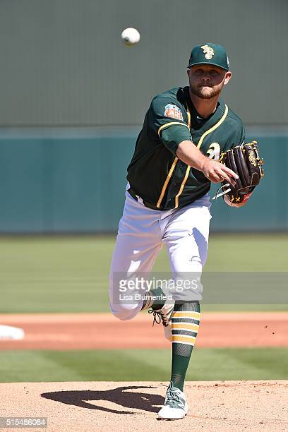 Jesse Hahn of the Oakland Athletics pitches against the Chicago Cubs on March 13 2016 in Mesa Arizona