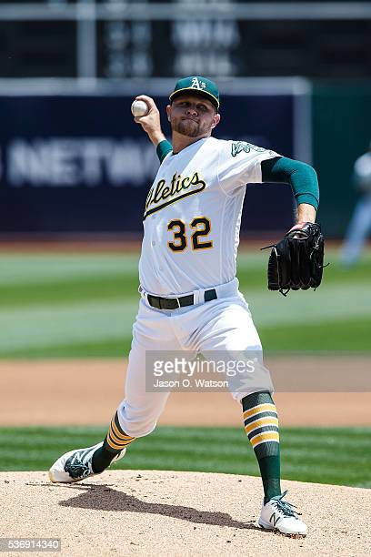 Jesse Hahn of the Oakland Athletics pitches against the Detroit Tigers during the first inning at the Oakland Coliseum on May 28 2016 in Oakland...