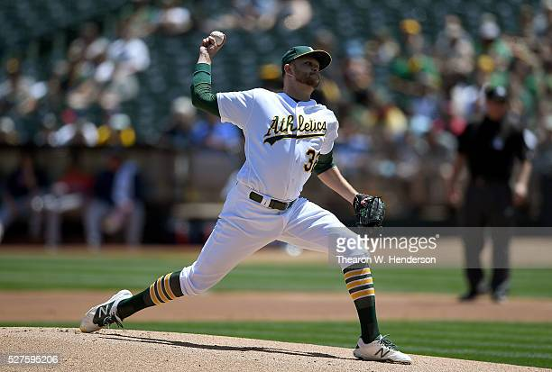 Jesse Hahn of the Oakland Athletics pitches against the Houston Astros in the top of the first inning at Oco Coliseum on April 30 2016 in Oakland...