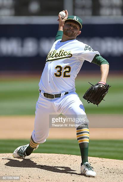 Jesse Hahn of the Oakland Athletics pitches against the Houston Astros in the top of the second inning at Oco Coliseum on April 30 2016 in Oakland...