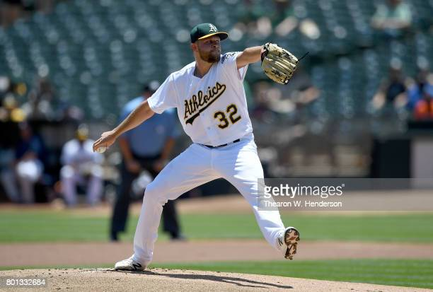 Jesse Hahn of the Oakland Athletics pitches against the Houston Astros in the top of the first inning at Oakland Alameda Coliseum on June 22 2017 in...