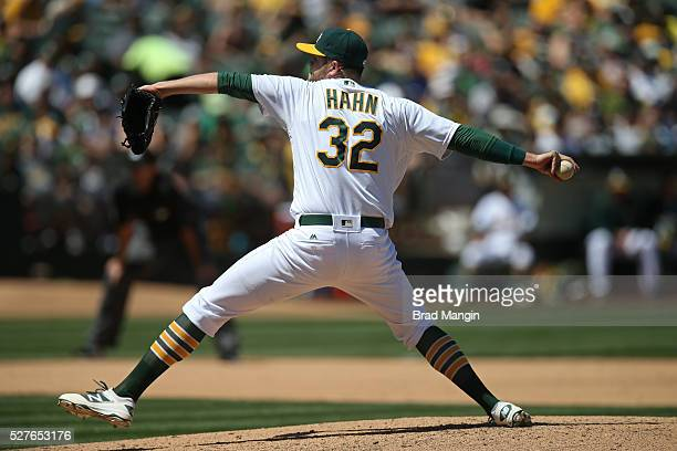 Jesse Hahn of the Oakland Athletics pitches against the Houston Astros during the game at the Oakland Coliseum on Saturday April 30 2016 in Oakland...