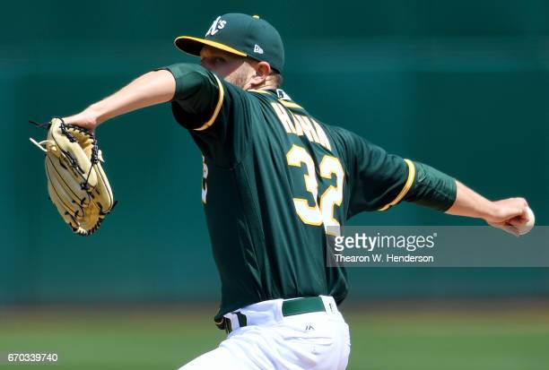 Jesse Hahn of the Oakland Athletics pitches against the Texas Rangers in the top of the first inning at Oakland Alameda Coliseum on April 19 2017 in...