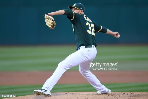 Jesse Hahn of the Oakland Athletics pitches against the Toronto Blue Jays in the top of the first inning at Oakland Alameda Coliseum on June 6 2017...