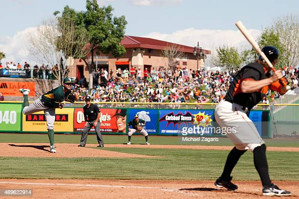 Jesse Hahn of the Oakland Athletics pitches during the game against the San Francisco Giants at Scottsdale Stadium on March 4 2015 in Scottsdale...
