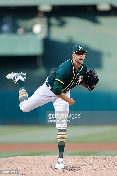 Jesse Hahn of the Oakland Athletics pitches during the game against the Kansas City Royals at Oco Coliseum on June 26 2015 in Oakland California The...