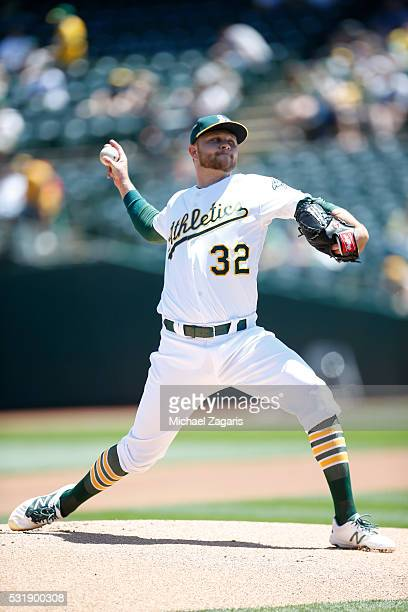 Jesse Hahn of the Oakland Athletics pitches during the game against the Houston Astros at the Oakland Coliseum on April 30 2016 in Oakland California...