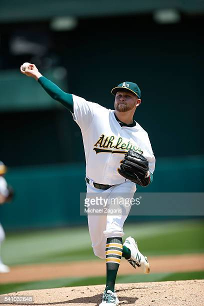 Jesse Hahn of the Oakland Athletics pitches during the game against the Detroit Tigers at the Oakland Coliseum on May 28 2016 in Oakland California...