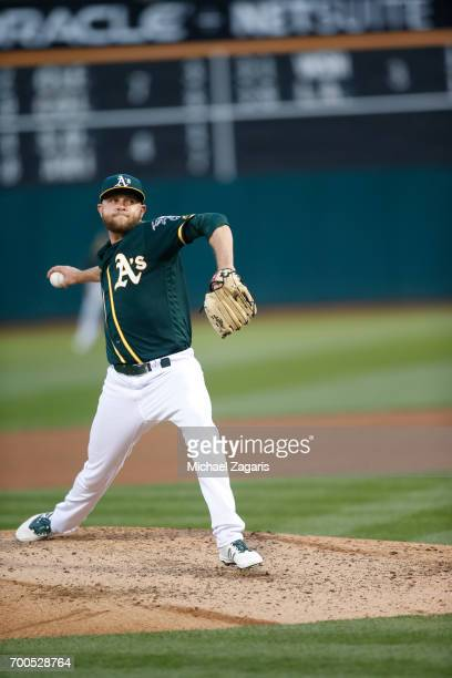 Jesse Hahn of the Oakland Athletics pitches during the game against the Toronto Blue Jays at the Oakland Alameda Coliseum on June 6 2017 in Oakland...