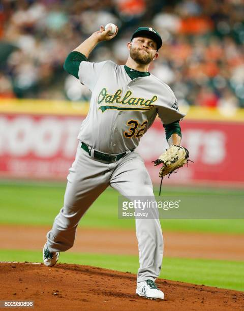 Jesse Hahn of the Oakland Athletics pitches in the first inning Houston Astros at Minute Maid Park on June 28 2017 in Houston Texas