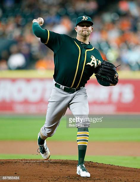 Jesse Hahn of the Oakland Athletics pitches in the first inning against the Houston Astros at Minute Maid Park on June 3 2016 in Houston Texas