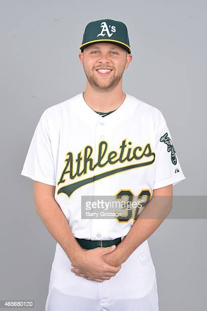 Jesse Hahn of the Oakland Athletics poses during Photo Day on Saturday February 28 2015 at Phoenix Municipal Stadium in Phoenix Arizona