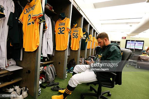 Jesse Hahn of the Oakland Athletics sits in the clubhouse prior to the game against the Texas Rangers at Oco Coliseum on April 72015 in Oakland...