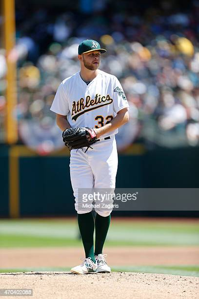 Jesse Hahn of the Oakland Athletics stands on the mound during the game against the Seattle Mariners at Oco Coliseum on April 12 2015 in Oakland...