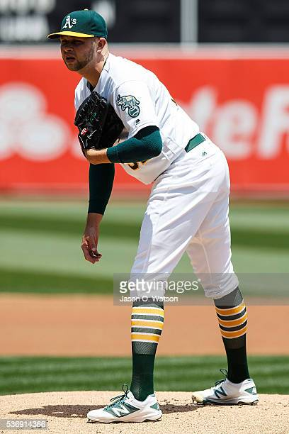 Jesse Hahn of the Oakland Athletics stands on the pitchers mound against the Detroit Tigers during the first inning at the Oakland Coliseum on May 28...