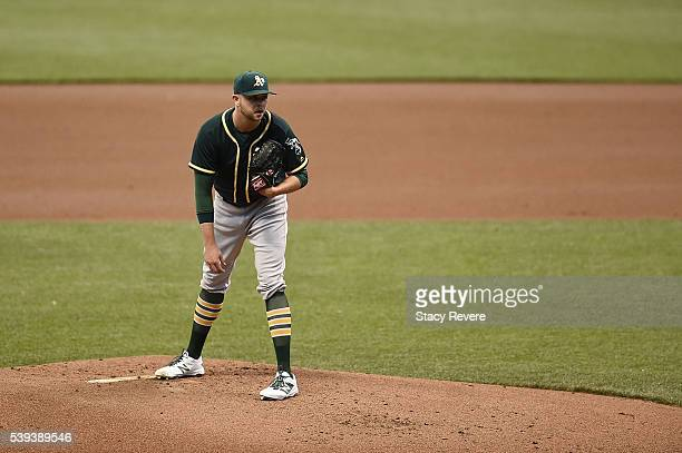 Jesse Hahn of the Oakland Athletics throws a pitch during a game against the Milwaukee Brewers at Miller Park on June 8 2016 in Milwaukee Wisconsin...