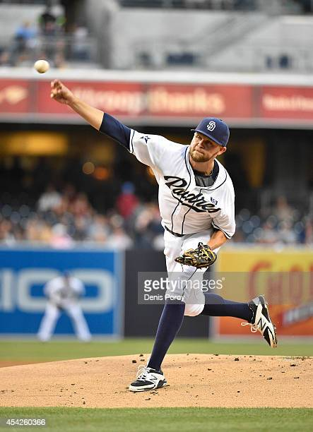 Jesse Hahn of the San Diego Padres pitches during the first inning of a baseball game against the Colorado Rockies at Petco Park August 11 2014 in...