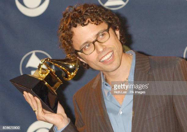 Jesse Harris holds the Grammy award for Song of the Year at the 45th Annual Grammy Awards at Madison Square Garden in New York City USA