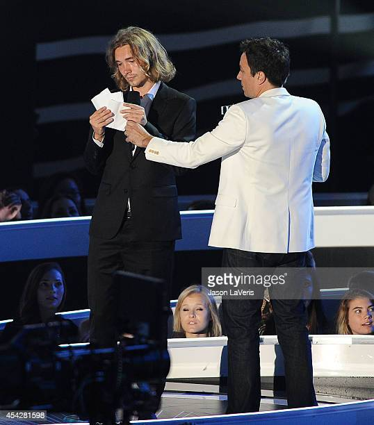 Jesse Helt and Jimmy Fallon onstage at the 2014 MTV Video Music Awards at The Forum on August 24 2014 in Inglewood California