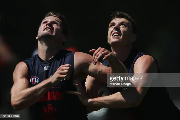 Jesse Hogan and Jake Lever compete for the ball during a Melbourne Demons AFL training session at Gosch's Paddock on November 29 2017 in Melbourne...