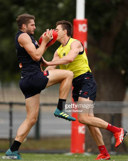 Jesse Hogan is tackled during a Melbourne Demons AFL training session at Gosch's Paddock on February 21 2018 in Melbourne Australia