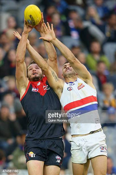 Jesse Hogan of the Demons and Koby Stevens of the Bulldogs compete for a mark during the round eight AFL match between the Melbourne Demons and the...