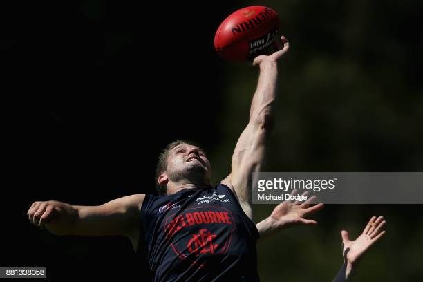 Jesse Hogan of the Demons competes for the ball during a Melbourne Demons AFL training session at Gosch's Paddock on November 29 2017 in Melbourne...