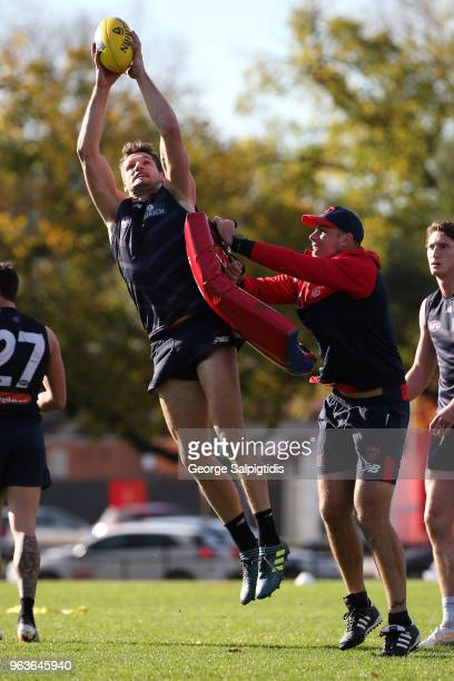 Jesse Hogan of the Demons is seen during a Melbourne Demons training session at Gosch's Paddock on May 30 2018 in Melbourne Australia