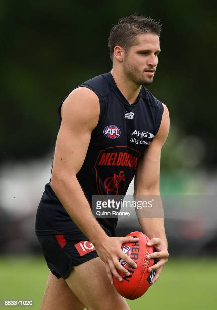 Jesse Hogan of the Demons kicks during a Melbourne Demons AFL training session at Gosch's Paddock on December 1 2017 in Melbourne Australia