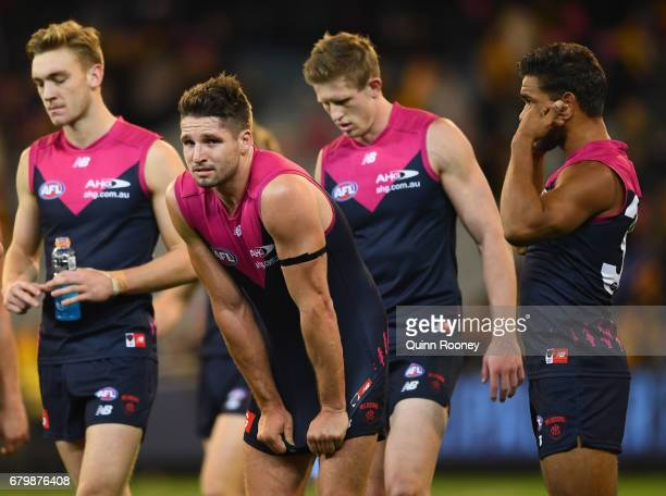 Jesse Hogan of the Demons looks dejected after losing the round seven AFL match between the Melbourne Demons and the Hawthorn Hawks at Melbourne...