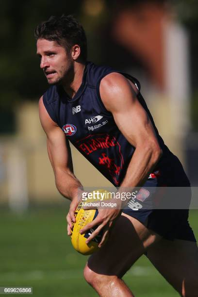 Jesse Hogan of the Demons looks upfield during a Melbourne Demons AFL training session at Gosch's Paddock on April 18 2017 in Melbourne Australia