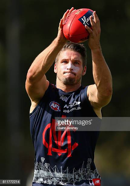 Jesse Hogan of the Demons marks during a Melbourne Demons AFL training session at AAMI Park on February 23 2016 in Melbourne Australia
