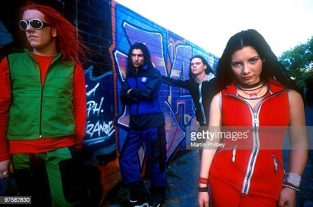 Jesse Hooper Warren Jenkin Adam Pedretti and Ella Hooper of Killing Heidi pose for a group portrait on the set of the Mascara Video Shoot in 1999 in...