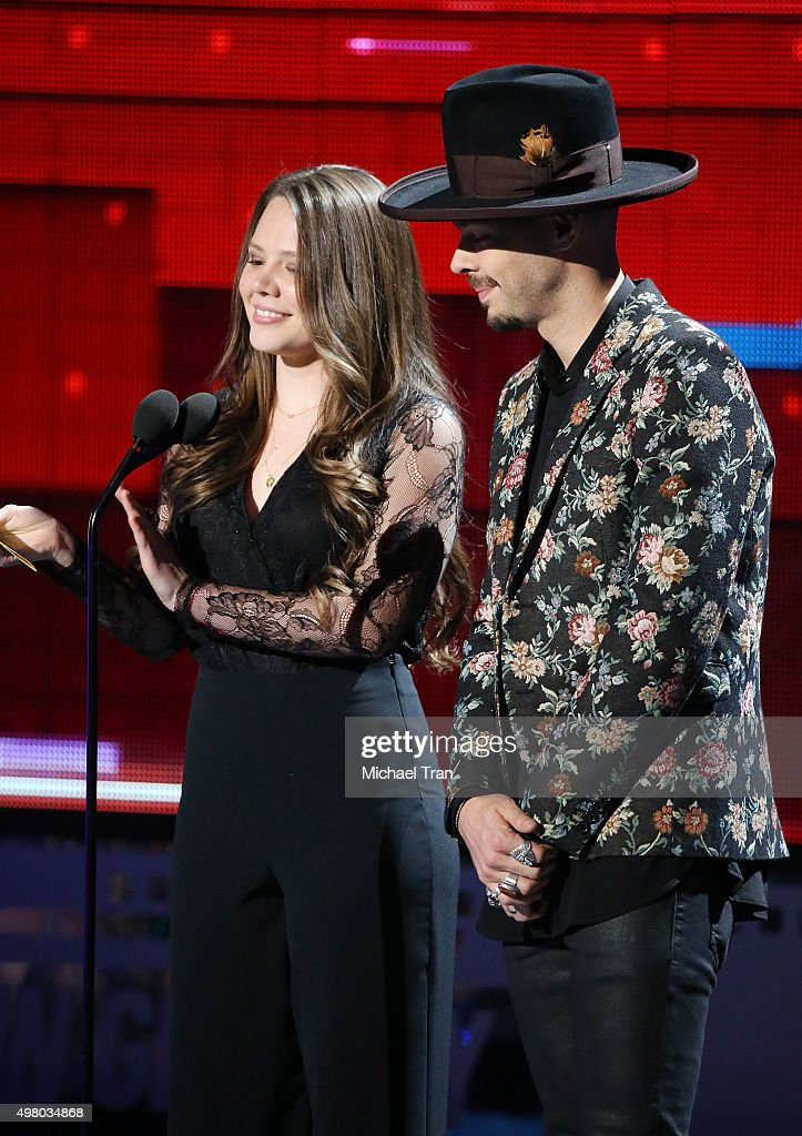 Jesse Huerta (L) and Joy Huerta of music group Jesse y Joy speak onstage during the 16th Annual Latin GRAMMY Awards held at MGM Grand Garden Arena on November 19, 2015 in Las Vegas, Nevada.