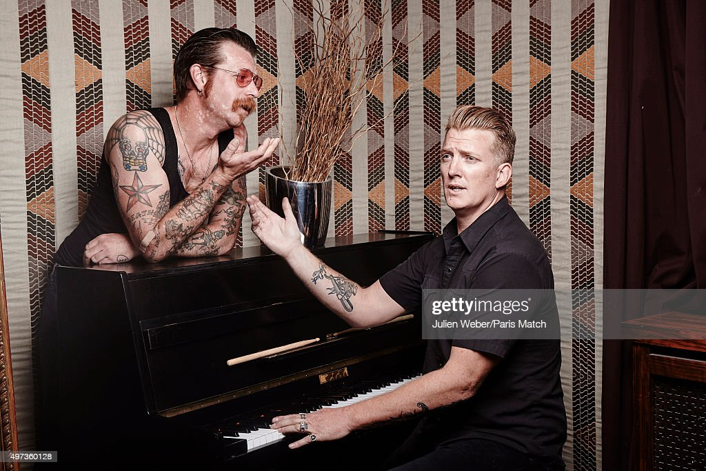 Jesse Hughes and Josh Homme of Eagles of Death Metal are photographed for Paris Match on June 9, 2015 in Paris, France.