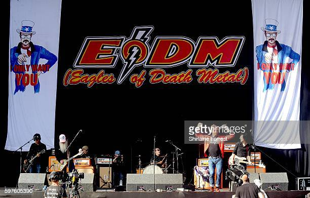 Jesse Hughes Dave Catching Matt McJunkins and Jorma Vik of Eagles of Death Metal perform at Leeds Festival at Bramham Park on August 28 2016 in Leeds...