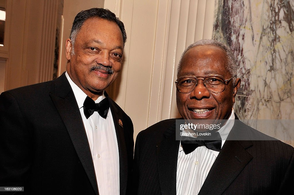Jesse Jackson and Baseball Hall of Famer Hank aaron attend the The Jackie Robinson Foundation Annual Awards' Dinner at the Waldorf Astoria Hotel on March 4, 2013 in New York City.