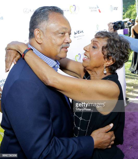 Jesse Jackson and Dolores Robinson attend the HollyRod 20th Annual DesignCare at Cross Creek Farm on July 14 2018 in Malibu California