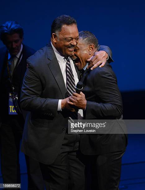 Jesse Jackson and Giancarlo Esposito share an embrace onstage at The Creative Coalition's 2013 Inaugural Ball at the Harman Center for the Arts on...