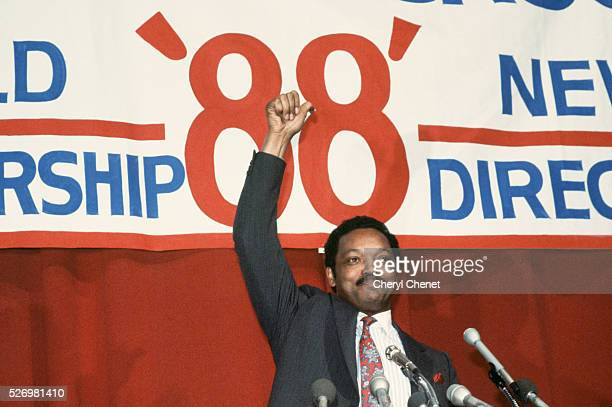 Jesse Jackson Baptist minister and candidate for the Democratic presidential nomination in 1988 gives the thumbs up at the end of a campaign speech