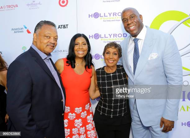 Jesse Jackson Cookie Johnson Dolores Robinson and Magic Johnson attend the HollyRod 20th Annual DesignCare at Cross Creek Farm on July 14 2018 in...