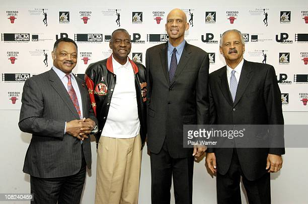Jesse Jackson former Chicago Bulls player Bob Butterbean Love NBA Hall of Famer Kareem AbdulJabbar and Stedman Graham attend the screening of On the...
