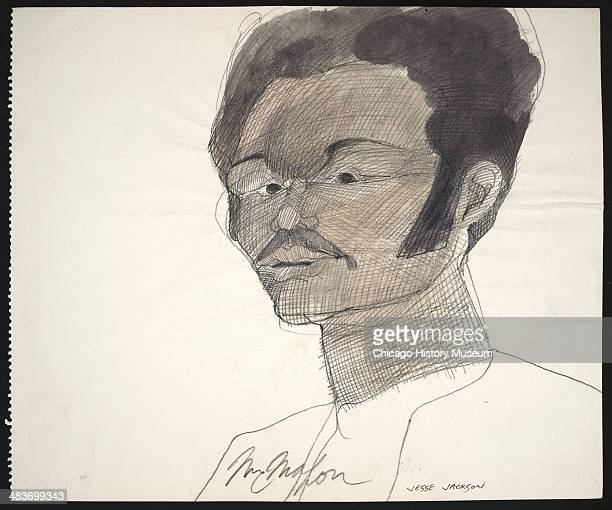 Jesse Jackson in a courtroom illustration during the trial of the Chicago Eight Chicago Illinois late 1969 or early 1970 The Eight or Seven as they...