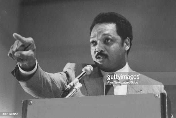 Jesse Jackson Sr points at the audience and delivers an emotional speech during his campaign 1988
