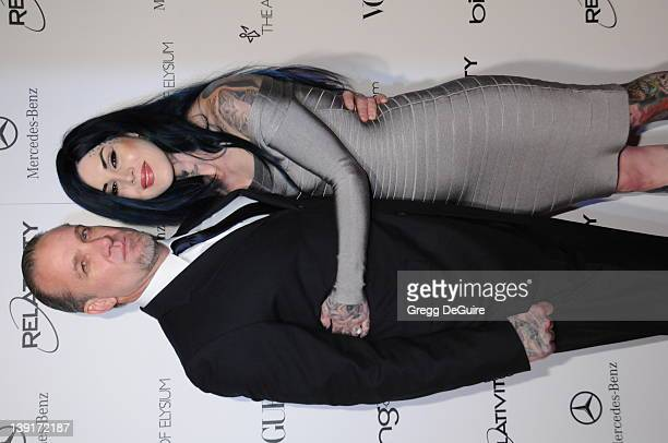 """Jesse James and Kat Von D arrive at The Art Of Elysium's 4th Annual Black Tie Charity Gala """"Heaven"""" at The Annenberg Building at the California..."""