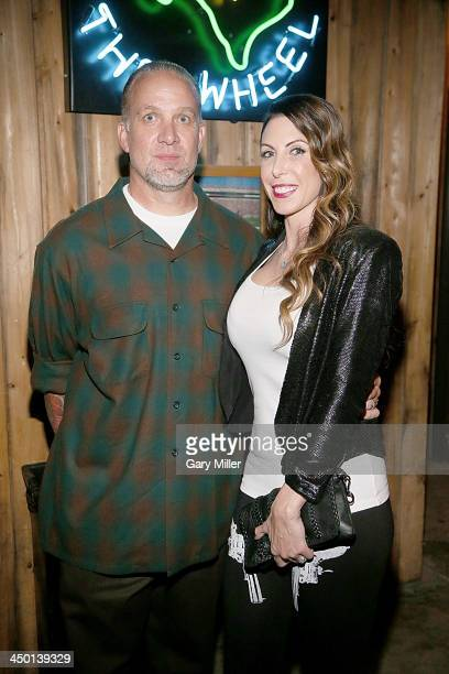Jesse James and wife Alexis DeJoria appear during the launch party of Jesse James Firearms Unlimited at the Rattle Inn on November 16, 2013 in...