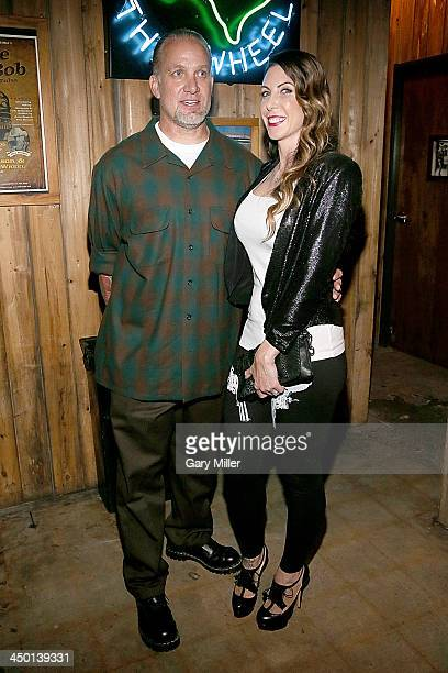 Jesse James and wife Alexis DeJoria appear during the launch party of Jesse James Firearms Unlimited at the Rattle Inn on November 16 2013 in Austin...