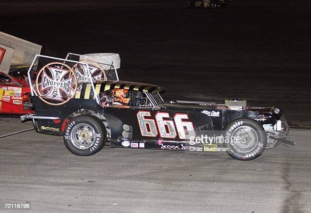 Jesse James car number 666 on the track at The Cisco Burger World Figure 8 Championship car race at the Irwindale Speedway on October 7 2006 in Los...